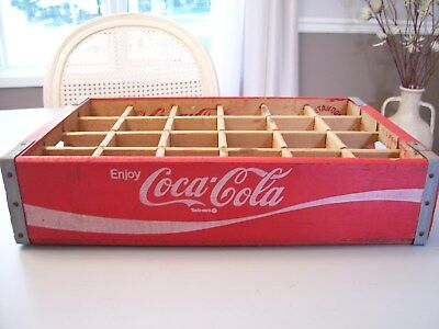 Vintage 1974 Chattanooga Coca-Cola Red Wooden Crate With 24 Dividers