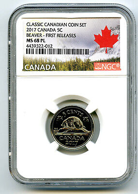 2017 Canada 5 Cent Classic Nickel Ngc Ms68 Pl First Release Proof Like Rare Pop