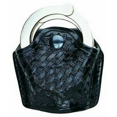 Aker Leather Basket Weave 606 Open Top Handcuff Case For Hinged Cuff A606-BW
