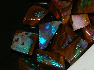 Quality Small Boulder Opal Rubs/Rough 55.4cts Red/Green/Blue Fires. Nr Lot