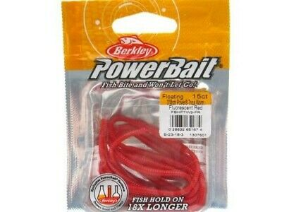 """Berkley Powerbait Fluorescent Red Floating Trout Worm 3"""" Fishing Lure 1307601"""