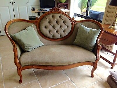 antique rosewood settee & pillows
