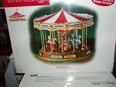 DEPT 56 CARNIVAL VILLAGE Ruby Red CAROUSEL *Excellent Store Display* (^)