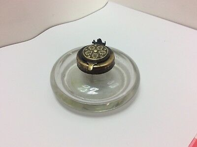 Antique Blown Glass Inkwell With Brass Lid