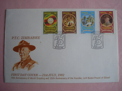 Zimbabwe First Day Cover with 4 stamps - 75th Anniversary World Scouting (1982)