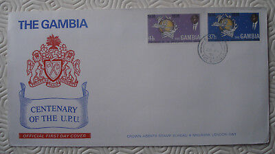 Gambia 1st Day Cover + 2 stamps: Centenary Universal Postal Union (1974)