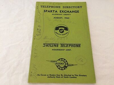 Telephone Book Directory Alleghany County NC August 1963 Sparta Exchange