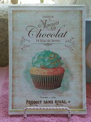Chic French Shabby Vintage Paris Choclat Cupcake 5 x 7 Canvas Plaque