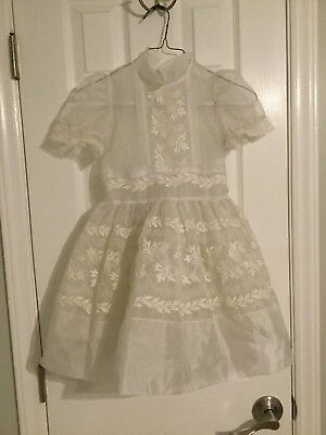 Vtg Girls Full Circle Ruffle Lace Frilly Party Dress white sheer sz 6