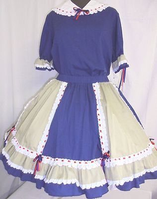 Ladies square dance outfit skirt blouse Navy tan detatch collar  see measurement