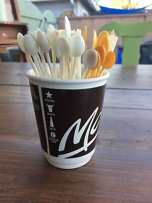 McDonald's McCafe German Ceramic Cup and Lot of 41 Stirrers Spoons 1970s, 1980