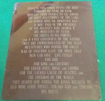 Rare WWI Tomb Of The Unknown Warrior / Soldier England metal sign