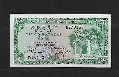 Macao 5 Pataca Paper Money Mint See Description (Cc30)