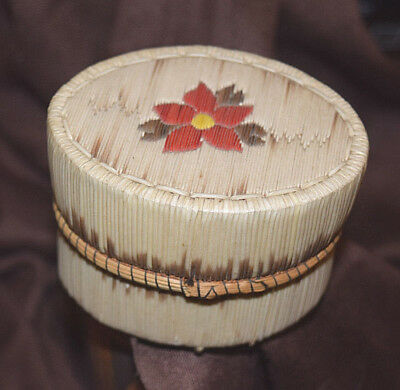 Finely Quilled Indian Quill Birch Bark Basket Box Flower Native American As Is
