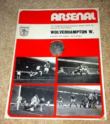 1972-73 Fa Cup 3Rd/4Th Place Match Arsenal V Wolverhampton Wanderers 18-8-73
