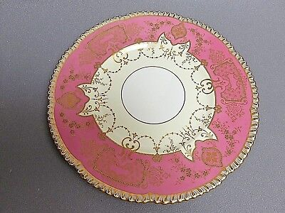 """spectacular Antique Cauldon China gold encrusted pink cabinet plate 10.5"""""""