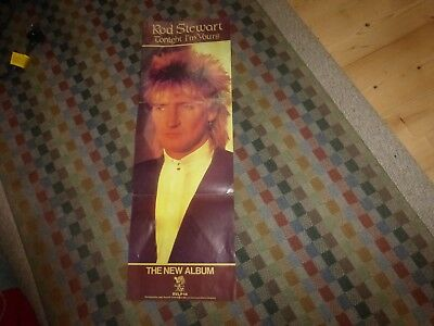rod stewart tri folded tonight am yours LP original promotional poster 1980s