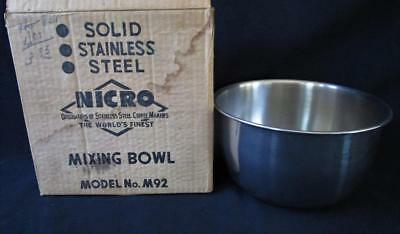 Vintage NOS Nicro Stainless Steel Mixing Bowl Model M-92