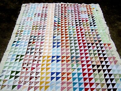 "Charming Vintage Hand Sewn Patchwork Quilt Topper Colorful! 65"" x 79"""