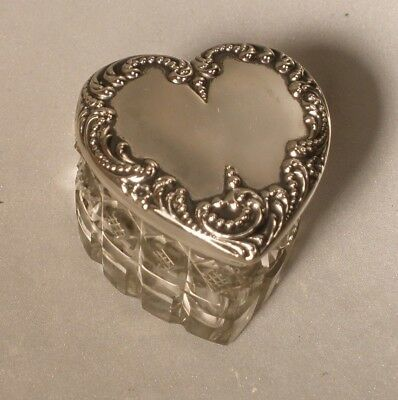 Vintage Cut Glass Heart Shaped Box with Silver Lid