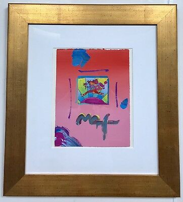 """Peter Max """"flower Jumper Over Sunrise """" Original Acrylic Painting On Paper Frame"""
