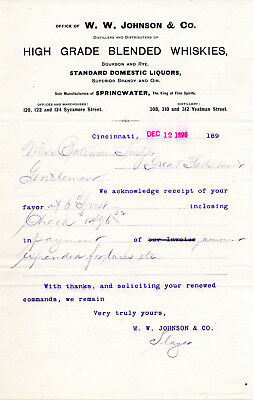 1898 W. W. Johnson Distillery, Cincinnati, Ohio Springwater Whiskey Letterhead