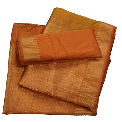 Sanskriti Vintage Saree Pure Silk Woven Brocade Fabric Sari With Blouse Piece