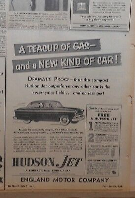 1953 newspaper ad for Hudson Jet - a Teacup of gas and a new kind of car