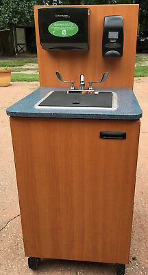 CMHS Portable Mobile Wooden Hand Wash Sink Concession Cabinet Hot Water Heater