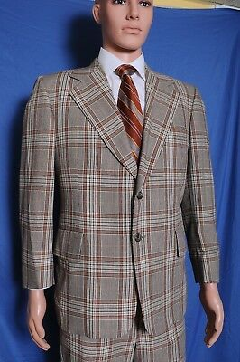 VTG '70s Griffon Brown plaid wide lapel wool blend business suit 42 35X28.5