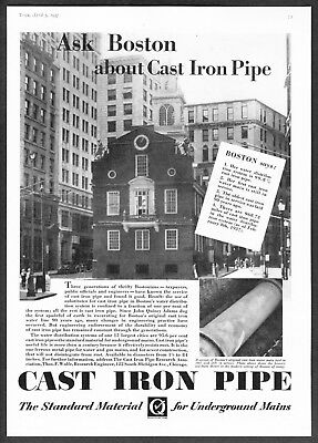 1937 Boston Historic Old State House photo Cast Iron Pipe vintage promo print ad