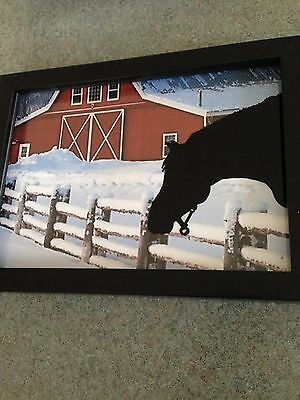 Reverse Painted Silhouette Picture --  Horse and Barn