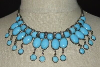 Blue Glass Egyptian Revival Statement Silver Tone Choker Necklace Vintage