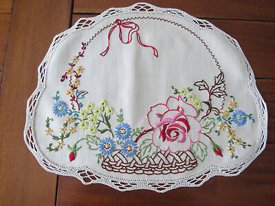 Gorgeous Embroidered Center Piece **Basket of Flowers** - As New Unused