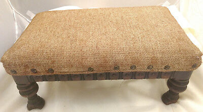 Antique Carved Wood Foot Stool Ottoman Victorian Footed Burlap 16x10x8 VTG Solid