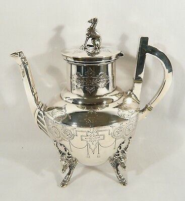 """Antique  MERIDEN B Company SiLVER Plate COFFEE POT  9 1/2"""" Stag  Footed Deer DOG"""
