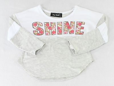 My Belle NEW Gray White Baby Girl's Size 3T Shine Floral Printed T-Shirt- #663