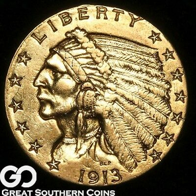 1913 Quarter Eagle, $2.5 Gold Indian ** Free Shipping!
