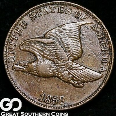 1858 Flying Eagle Cent, Large Letters Variety, Choice XF++/AU Early Date