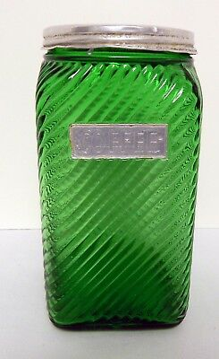 Owens Illinois Forest Green Diagonal Canister COFFEE Original Lid