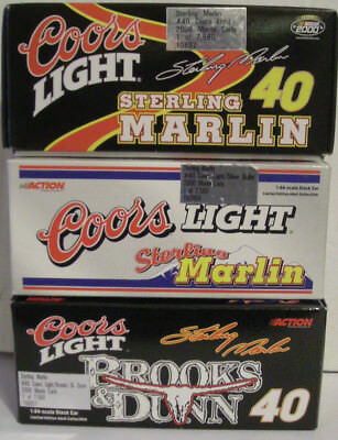 (3) DIFFERENT Sterling Marlin #40 Action Coors Light/Brooks & Dunn 1:64 CAR 2000