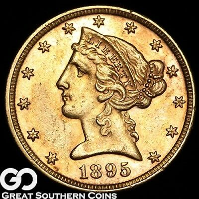 1895 Half Eagle, $5 Gold Liberty, Nice Collector Gold Coin ** Free Shipping!