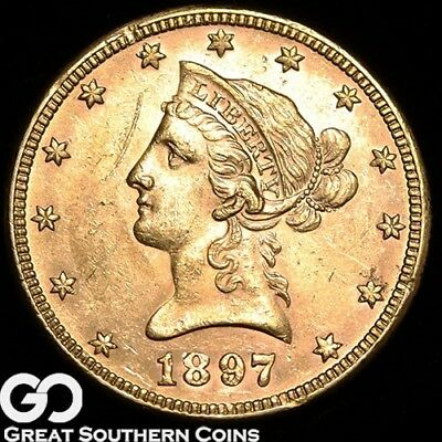1897 Eagle, $10 Gold Liberty, Lustrous ** Free Shipping!