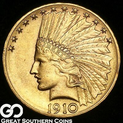 1910-D Eagle, $10 Gold Indian, Nice Lustrous Coin! ** Free Shipping!