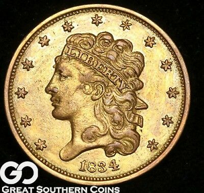 1834 Half Eagle, $5 Gold Classic Head, Tough Early Gold Type ** Free Shipping!