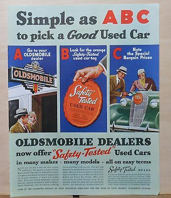 1937 magazine ad for Oldsmobile - Simple as ABC to pick a Good Used Car