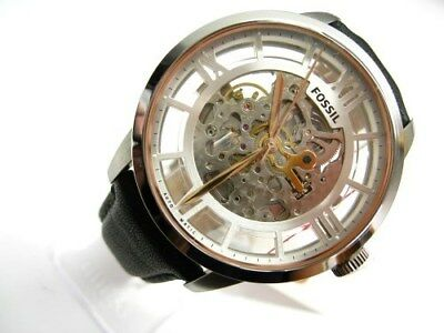 Fossil Townsman Black Leather Band Automatic Skeleton Dial Watch ME3041