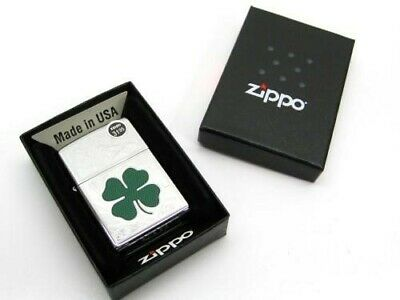 Zippo High Polish Chrome 4 Leaf Clover Shamrock Classic Windproof Lighter 24699