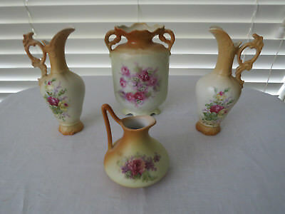 4 Pieces Unmarked **Blushware** Pink Roses - Ewers and Vases...