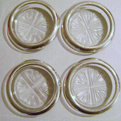 Glass Coasters with Silverplate  Rims
